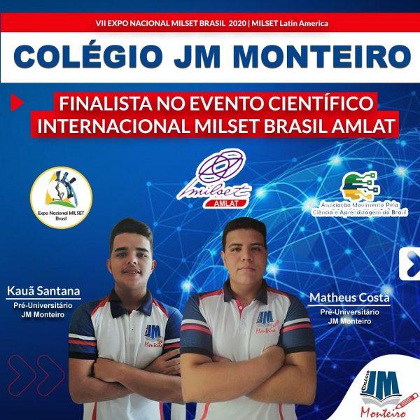 Colégio JM Monteiro é finalista em Evento Científico Internacional